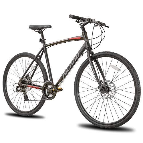 Hiland Road Hybrid Bike Urban City Commuter Bicycle with Disc Brake for Men Comfortable Bicycle 700C Wheels 24 speeds Bikes Black 53cm