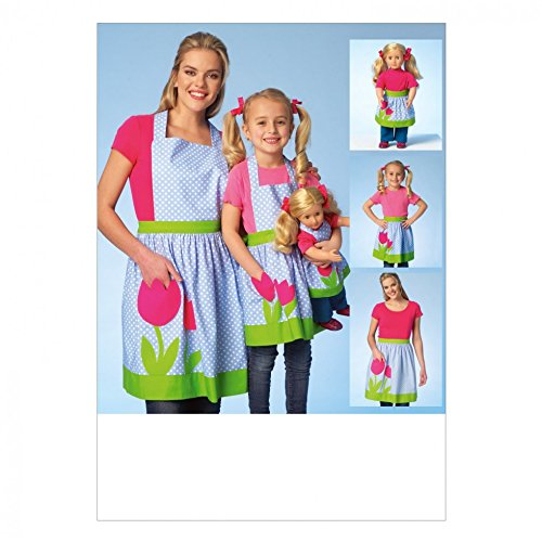 Kwik Sew Damen, Mädchen & Puppen leicht Schnittmuster 4105passenden Schürzen + Gratis Minerva Crafts Craft Guide