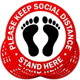 Seamuing 20 Pcs Segnaletica di Sicurezza Adesivo Antiscivolo Cartelli di Sicurezza Segno di Pavimento di Distanza Sociale Keep Your Distance per luoghi pubblici (20 * 20 Cm)