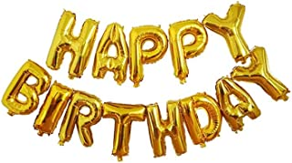 SOLDOUT™ 16 Inch Golden Alphabet Letters Balloons Happy Birthday Party Decoration Aluminum Foil Membrane Balloon (13 PCS)