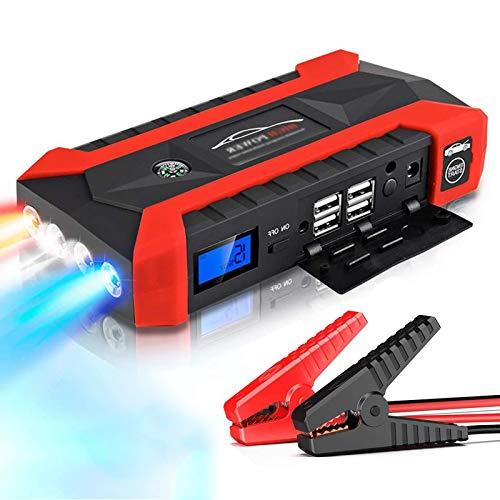 AZCSPFALB 12V Multifunción Arrancador de Coche con 4 Puertos USB, 89800mAh Cargador Portátil de Batería de Coche para Motocicletas, Barcos, Caravanas(Impermeable/SOS/LED)