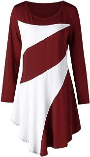 CharMma Women's Plus Size Round Neck Color Block Asymmetric Tunic T-Shirt
