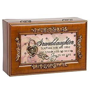Granddaughter Unlocked So Much Joy Burlwood Jewelry Music Box Plays You Are My Sunshine