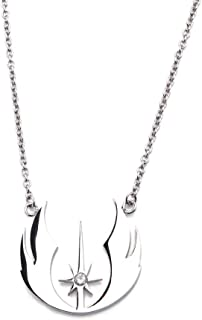 Women's Stainless Steel Star Wars Jedi Order CZ Necklace