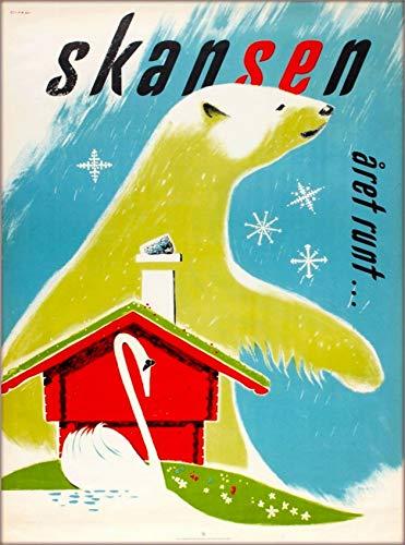 ABLERTRADE Skansen Zoo Museum Stockholm Sverige Skandinavien Björn Resa Retro Metall Affisch Skyltar Väggdekor Present 20 x 30 cm