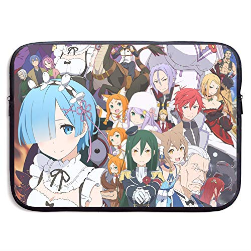 Re Zero Starting Life in Another World Rem Ram Convenient Large Capacity Laptop Bag Tablet Protective Bag Cute Fun and Exquisite Print(13 Inch 15 Inch)15 inch