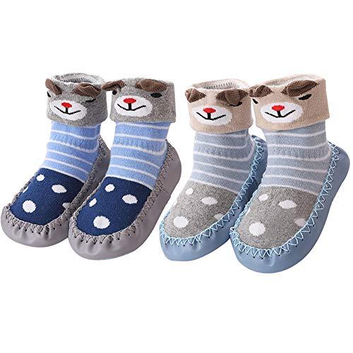 Hoylson Unisex-Baby Socken Hüttenschuh Babyschuhe Krabbelschuhe Kleinkind Lauflernschuhe Mit Anti-Rutschsohle für Jungen und Mädchen 0-24 Monate (M: 18-30 Monate, Style-8)