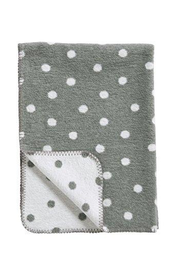 Meyco 1541052 Babydecke/Kuscheldecke Classic Basic, 100 x 150 cm, grau/weiß mit Punkten