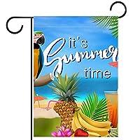 ガーデンフラッグ、それは夏の鳥のオウムです 、季節の屋外旗12x18両面ホームヤード装飾