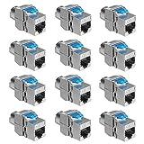 kwmobile 12x Módulo Keystone para Cable Cat 8 - Juego de adaptadores Blindados RJ45 - Conector de Metal con Ancho de Banda 40 Gbit/s - Ethernet PoE
