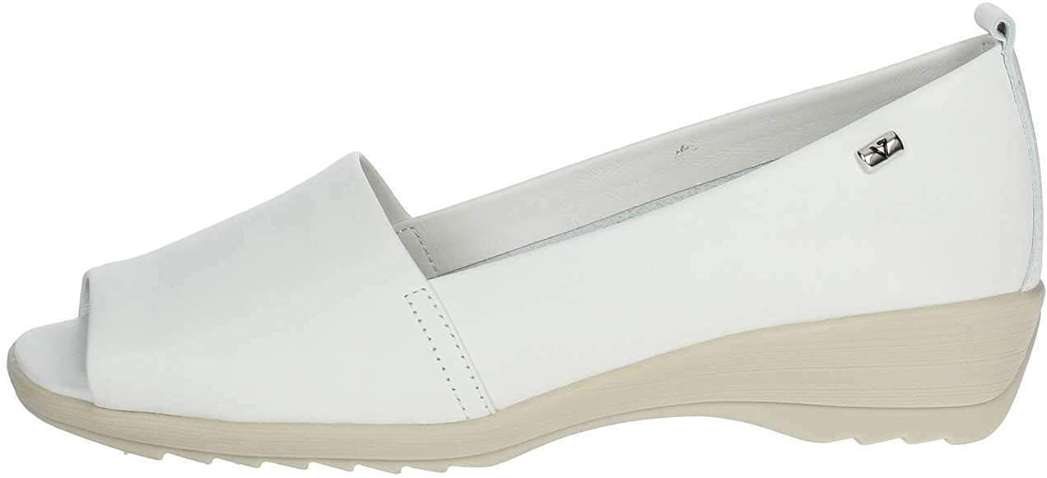 Vallegreen 41141 Sandal Open Toe shoes Moccasin Wedge Leather White Woman Made in