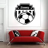 Tianpengyuanshuai Nombre Personalizado Etiqueta de la Pared de fútbol Etiqueta de Vinilo Personalizada fútbol Mural decoración del Dormitorio 39X50cm