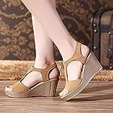 DZQQ 2021 Verano Mujer Sandalias Plataforma Sandalias de cuña Mujer Cremallera Zapatos de Verano sólidos Sandalias de Gladiador tamaño Grande 32-43