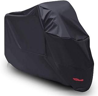 Funda para Moto Scooter XL, Cubierta de Moto Impermeable Protección con Recubrimiento de PU, Dobladillos Elásticos y Cinturón a Prueba de Viento