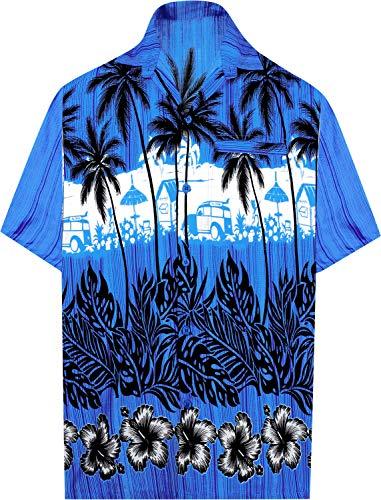 LA LEELA Casual Hawaiana Camisa para Hombre Señores Manga Corta Bolsillo Delantero Surf Palmeras Caballeros Playa Aloha L-(in cms):111-121 Azul_W382