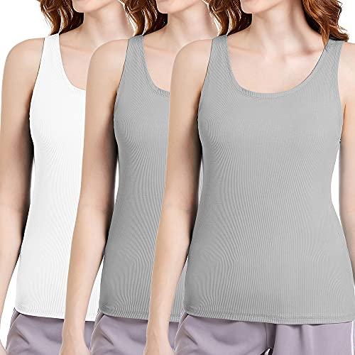 Damskie 3-pak podkoszulek lato bez rękawów podstawowe cami top koszulka slim fit kamizelka dzianinowe prążkowane bluzki