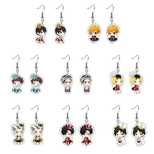 Saicowordist 8 Pairs Haikyuu Earrings Cute Hoop Earrings Cartoon Character Acrylic Pendant Anime Cosplay Accessories Alloy Personalized Earrings(Style 01)