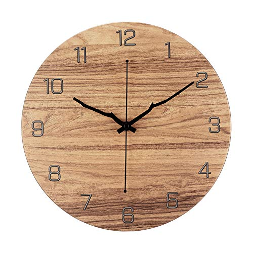 OURISE Modern Metal Wall Clock , 12 Inch Silent Non-Ticking Large Round Decorative Clocks for Living Room, Home, Office, School, Bedroom, Easy to Read ,Battery Operated(04)