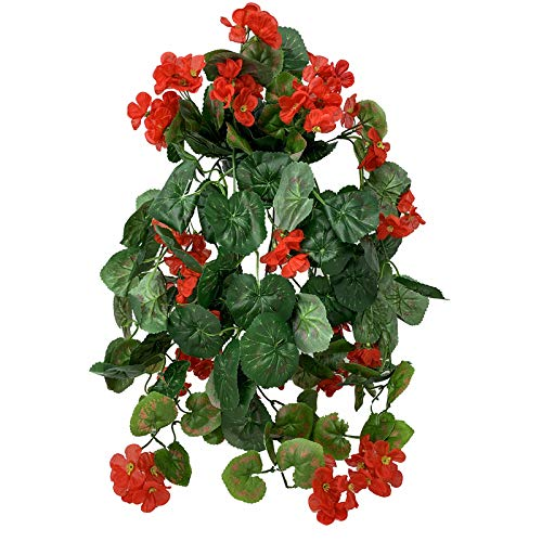 FloristryWarehouse Cesta colgante de seda artificial, geranio, color rojo, 62 cm, con diseño de flores
