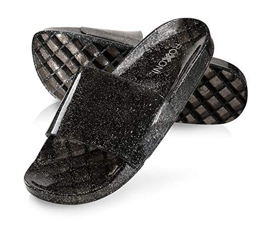 Roxoni Women's Summer Flip Flop Open Toe Black Jelly Glitter Slide Sandal Slippers (Size 9)