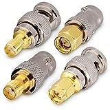 kwmobile Kit Adaptador SMA a BNC - Conectores Macho Hembra RF para Cable de Antena y Radio - para Radio BC radioaficionados - Set de 4X Conectores