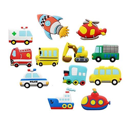 Koolemon 12pcs/lot Vehicles Car Fridge Magnets Whiteboard Sticker Rubber Refrigerator Magnets for Home Kitchen Decoration Educational Prop Gift