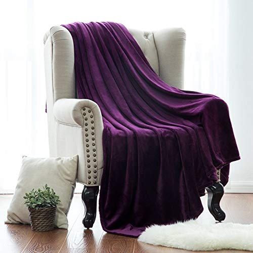 R&P Flannel Blanket Super Soft Solid Color Fleece Throw Blanket Plush Blanket for Kids Sofa Floor Couch Bed Living Room,Purple,150x110cm/59x42in