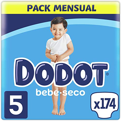 Dodot Pañales Bebé-Seco Talla 5 (11-16 kg), 174 Pañales con Protección Antifugas, Pack Mensual