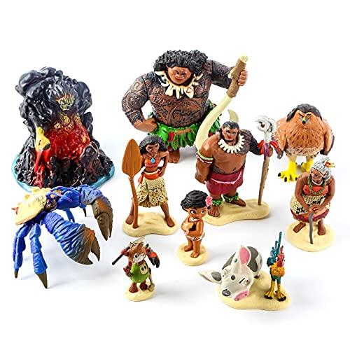 10 Piezas Moana Figuras De Acción Set Maui Tamatoa Tui Sina Heihei Pua Tala Kakamora Anime Muñecas Modelo Juguetes Niños Regalo De Cumpleaños 5-11Cm