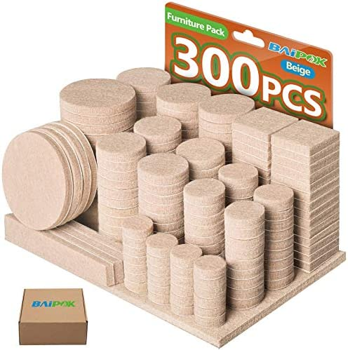 Furniture Pads 300 Pack Premium Furniture Felt Pads Beige Huge Quantity Self Adhesive Felt Pads product image