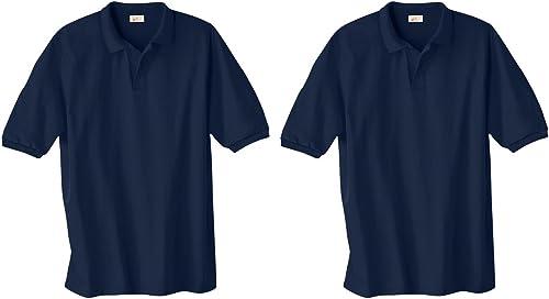 Hanes ComfortBlend Ecointelligent Knit Polo, Marine, 4X (Lot de 2)