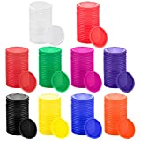 Coopay 300 Pieces 10 Colors Plastic Learning Counters Disks Bingo Chip Counting Discs Markers for Math Practice and Poker Chips Game Tokens,1 Inch (Style 2)