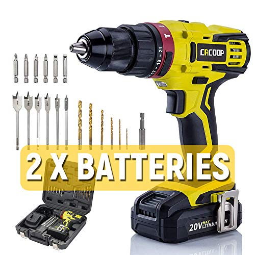 CACOOP cordless hammer drill set with extra 4000mAh battery