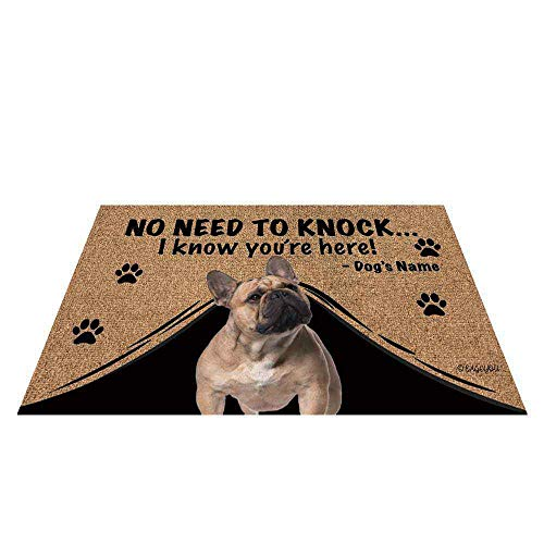 BAGEYOU Personalized Dog's Name Doormat with My Love Dog French Bulldog Welcome Floor Mat Not Need to Knock I Know You're Here 23.6' X 15.7'