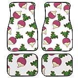 AQQA Lot de 4 tapis de sol pour voiture - Motif radis rose - Avant et arrière - Antidérapant - Avec dos en caoutchouc - Pour voiture, SUV, van et camion