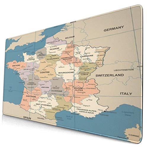 CONICIXI Tapis de Souris Gamer 40x75cm France Carte Vintage Pays Lyon Détaillée Rouge Foncé Bordeaux Business Finance Géographie Education pour la Maison et Le Bureau