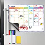Magnetic Fridge Calendar Monthly Whiteboard Calendar for Fridge 2020-2021 with 5 Dry Erase Markers & Erase & Holes for Wall Hanging