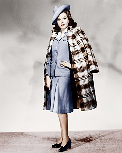 The Poster Corp Ann Miller Wearing Light Blue Skirt Suit and Plaid Overcoat Photo Print (40,64 x 50,80 cm)