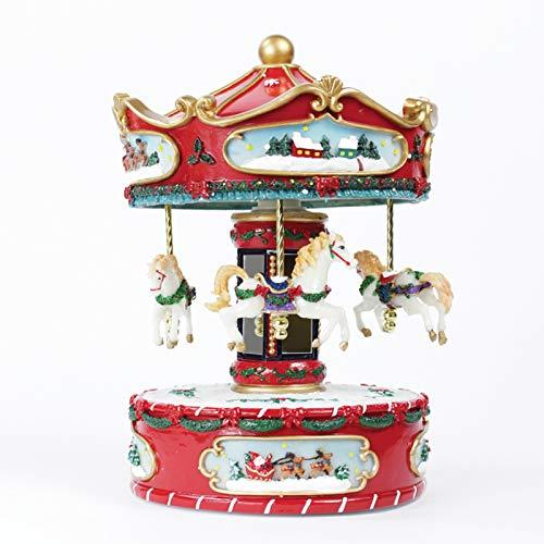Carosello con Carillon e Suoni giostra con Cavalli a Dondolo Decorazione Natalizia per Tavolo/mensola - Multicolore Tema Natale Rosso e Bianco - 17x25 cm Giostrina Villaggio di Natale