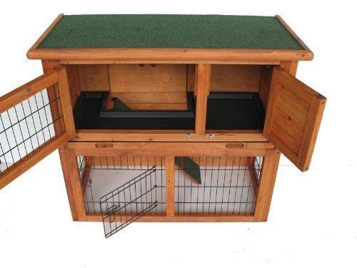 Palacio casa Conejo Doble Decker Conejo cabaña con rampa Deslizante Bandeja de plástico/Puerta Enrollable, 91,44cm