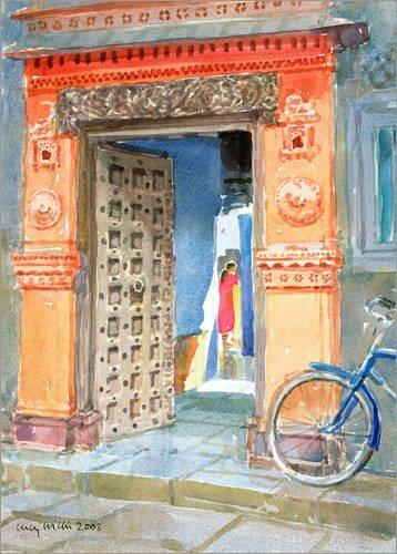 Posterlounge Leinwandbild 100 x 130 cm: In der Altstadt von Bhuj von Lucy Willis/Bridgeman Images - fertiges Wandbild, Bild auf Keilrahmen, Fertigbild auf echter Leinwand, Leinwanddruck