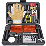 TECCPO Tire Repair Kit, 100Pcs Heavy Duty Tire Plug Kit for Car, Truck, RV, ATV, Tractor, Trailer, Motorcycle-Universal Tire Repair Tools to Fix Punctures and Plug Flats, THTC04H