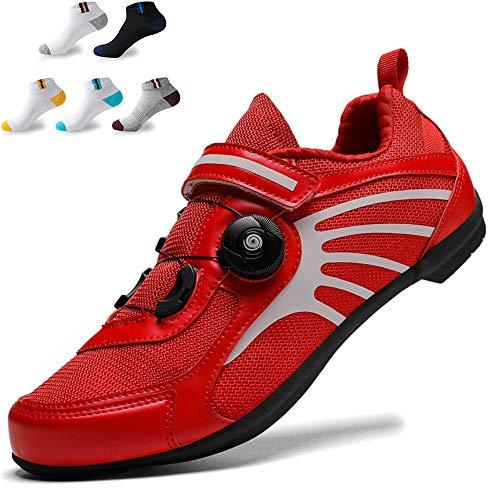 XFQ Zapatos Unisex Ciclismo, Adultos Zapatos De Bicicleta Casual Antideslizante De Zapatos Ninguna Bloqueo De Ciclo del Camino Reflectante De Amortiguación,Rojo,43EU