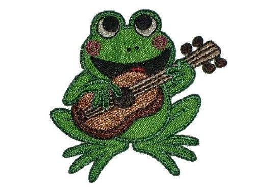 alles-meine.de GmbH Frosch 6,6 cm * 6, 2 cm Bügelbild mit Gitarre Aufnäher Applikation Frösche Tiere
