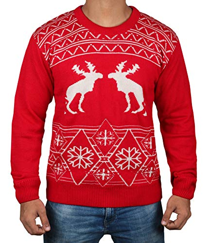 Pooping Mose Ugly Christmas Sweater - Mens Adult Red Sweater (L)