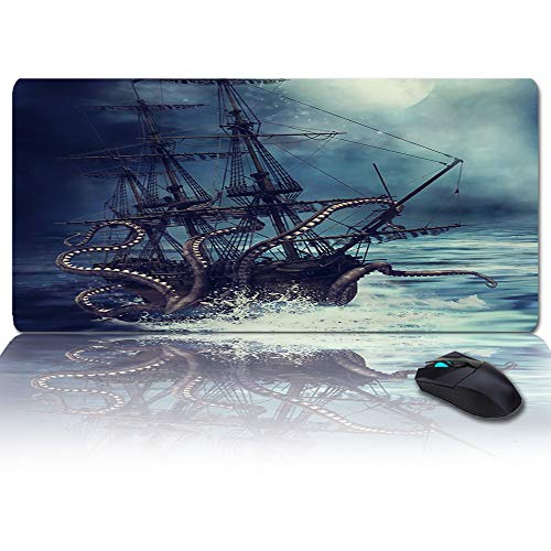 Large Mouse Pad Desk Mat 35x15 in Oversized RGB Soft Gaming Mousepad, Custom Kraken Ocean Giant Octopus Tentacles Mythical Nautical XXL Cool Keyboard Pad for Gamer, Office & Home