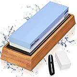 Whetstone Knife Sharpening Stone Dual Side Grit 1000/6000 Whetstone with Angle Guide, Nonslip