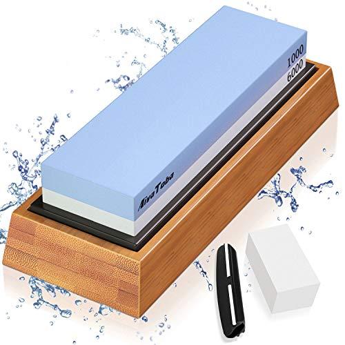 Abziehsteine Schleifstein Set 1000/6000 Grit Wetzstein Küchenmesser 2-in-1 Doppelseitiger Messerschärfer mit Bambusbasis, Rutschfestem Silikonhalter, Winkelführung, Abflachungsstein