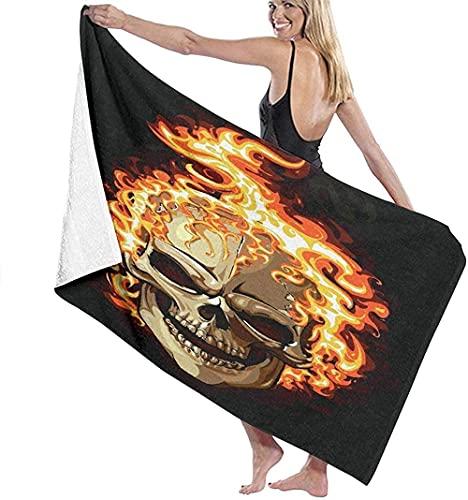 Toallas de playa de microfibra, diseño de calavera ardiente en negro, toalla de playa ligera, perfecta para la familia, hotel, viajes, natación, fitness, deportes