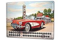カレンダー Perpetual Calendar Garage G. Huber Diner caprio Tin Metal Magnetic